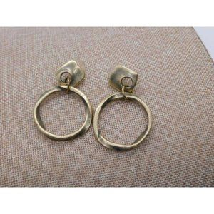 Pounded Metal Brushed Gold Pierced Earrings